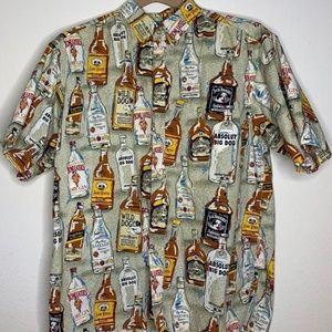 Big Dogs Red Hawaiian Shirt Dog Beer Label Whiskey